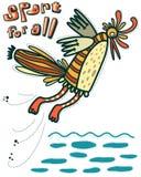 Humorystyczny obrazek ptasi doskakiwanie w wodzie ilustracji