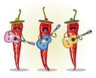 Humorystyczny wizerunek trzy meksykanina chili bawić się gitarę ilustracji