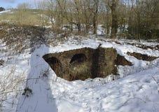 Humos de la fundición de la ventaja en nieve imagenes de archivo