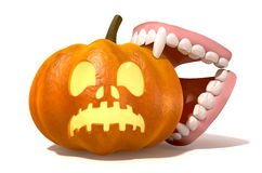 Vampire Teeth Biting Jack O'Lantern Royalty Free Stock Images