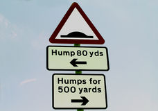 Hump Sign. Watch out for the Hump Stock Photos