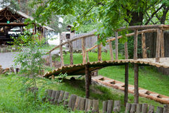Humpback bridge in the forest. Park Hotel, Russia, Ulyanovsk stock image