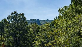 Humpback Rocks – Blue Ridge Parkway, Virginia, USA. Waynesboro, VA – October 3rd: View of Humpback Rocks which is a massive greenstone outcrop near the peak Stock Photos