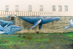 Humpback Whale Street Art in Alaska Royalty Free Stock Images