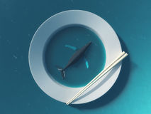 Humpback whale in white plate with chopsticks Royalty Free Stock Photography