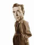Humphrey Bogart caricature illustration Stock Image