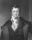 Humphrey Davy. (1810-1876) on engraving from the 1800s. British chemist and inventor. Engraved by E. Scriven and published in London by Charles Knight, Pall Stock Photo