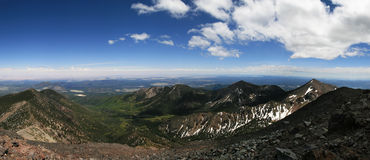 Humphreys Peak panorama. Panorama from Humphreys Peak, the highest point in Arizona in the San Francisco Peaks near Flagstaff looking east and south into the Royalty Free Stock Image