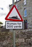 Humps for 300 yards street sign Royalty Free Stock Image