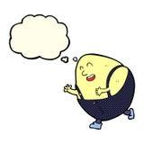 humpty dumpty χαρακτήρας αυγών κινούμενων σχεδίων με τη σκεπτόμενη φυσαλίδα Στοκ Φωτογραφία