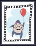 Humpty Dumpty with balloon card Royalty Free Stock Image