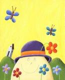 Humpty Dumpty with flowers. Acrylic Illustration of Humpty Dumpty with flowers Stock Images