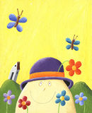 Humpty Dumpty mit Blumen Stockbilder