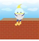 Humpty Dumpty sitter på väggen stock illustrationer