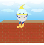 Humpty Dumpty is sitting on the wall Royalty Free Stock Photography