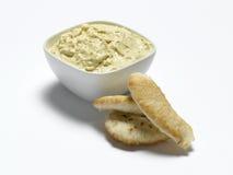 Humus. Bowl of humus and pitta bread Stock Image