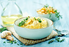 Humus. In bowl and on a table Stock Image