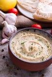 Humus in eigengemaakte komchapati en groente royalty-vrije stock afbeeldingen