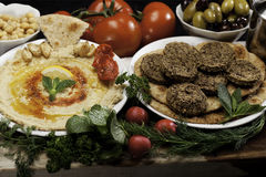 Humus and Falafels Stock Photo