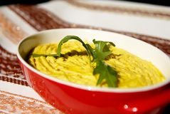 Humus paste with olive oil and chili, Royalty Free Stock Photo