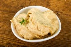 Humus. Vegetarian Humus with sesame seeds and thyme leaves Royalty Free Stock Image