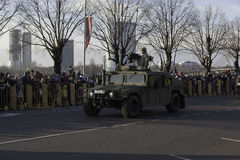 Humvee armor at militar parade in Latvia. Humvee armour from forces of NATO at military parade in Riga, Latvia. Parade in honor of proclamation of Latvia at stock photos