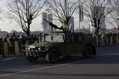 Humvee armor at militar parade in Latvia Stock Images