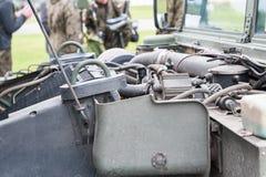 Humvee engine. Humvee,engine of military vehicle stock image