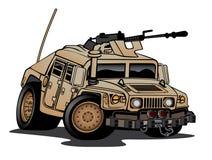 Humvee militär lastbiltecknad film Arkivbild