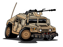 Humvee Military Truck Cartoon. Military Humvee cartoon in desert paint with a mounted machine gun, big tires and aggressive stance Stock Photography