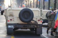 Humvee military vehicle. BUCHAREST, ROMANIA - December 1, 2018: Rear of a Humvee military vehicle from the Romanian army at Romanian National Day military parade stock photos