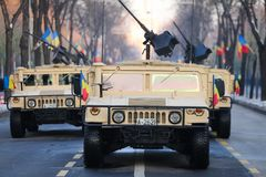 Humvee military vehicle. BUCHAREST, ROMANIA - December 1, 2018: Humvee military vehicle from the Romanian army at Romanian National Day military parade stock images