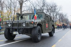 Humvee-Romanian military car. The photo was taken on December 1, 2017, in Romania, Bucharest royalty free stock images
