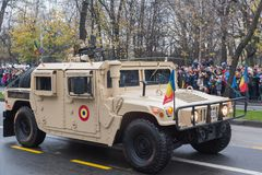 Humvee-Romanian military car. The photo was taken on December 1, 2017, in Romania, Bucharest stock photos