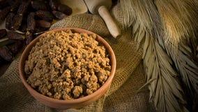 Hunaini,沙特阿拉伯传统甜点由日期做成和Saj 免版税库存图片