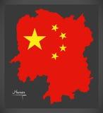 Hunan China map with Chinese national flag illustration Royalty Free Stock Photography