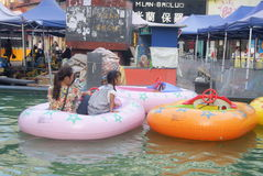 Hunan Huaihua, China: row rubber boat Stock Photos