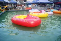 Hunan Huaihua, China: row rubber boat Royalty Free Stock Image