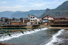 Hunan Zhangjiajie die Wulingyuan in de waterstraat drijven - Kreekstraat Stock Foto's