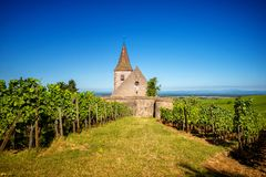 Hunawihr, Alsace, France. Haut-Rhin, 68, Route des vins d`Alsace, Hunawihr, labeled The Most Beautiful Villages of France, Church of Sainte-Hune Royalty Free Stock Images