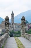 Hunchback Bridge. Bobbio. Emilia-Romagna. Italy. Panoramic view of Bobbio. Emilia-Romagna. Italy Royalty Free Stock Photos