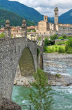 Hunchback Bridge. Bobbio. Emilia-Romagna. Italy. Stock Photography