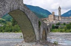 Hunchback Bridge. Bobbio. Emilia-Romagna. Italy. Perspective of the Hunchback Bridge. Bobbio. Emilia-Romagna. Italy Stock Photos