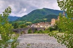 Hunchback Bridge. Bobbio. Emilia-Romagna. Italy. Perspective of the Hunchback Bridge. Bobbio. Emilia-Romagna. Italy Stock Photo