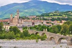 Hunchback Bridge. Bobbio. Emilia-Romagna. Italy. Perspective of the Hunchback Bridge. Bobbio. Emilia-Romagna. Italy Royalty Free Stock Photography