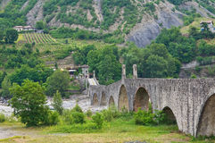 Hunchback Bridge. Bobbio. Emilia-Romagna. Italy. Stock Photos