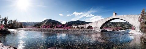 Hunchback bridge panorama in bobbio Royalty Free Stock Image