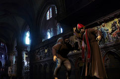 The hunchback of Notre-Dame. Interior of Notre-Dame, cathedral of Paris Stock Images