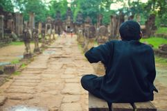 Hunchback Quardian From Banteay Srey Temple Stock Image