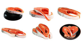 Hunchback salmon with/without plate. Set stock images